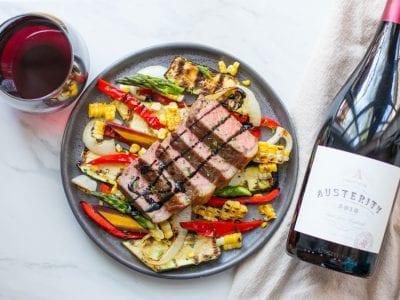 steak and red wine glaze