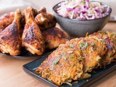 chicken meal prep with potato pancakes
