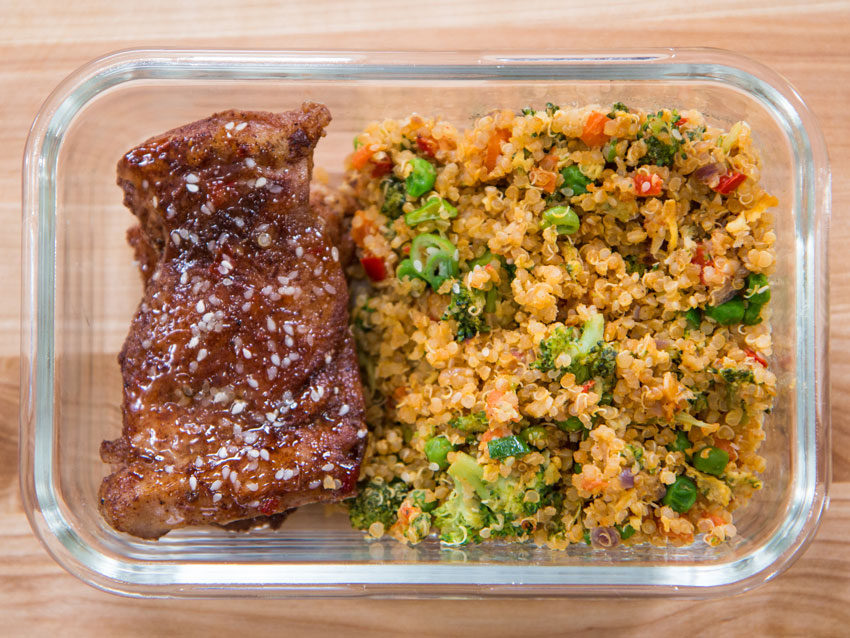 chicken meal prep with fried quinoa rice recipe