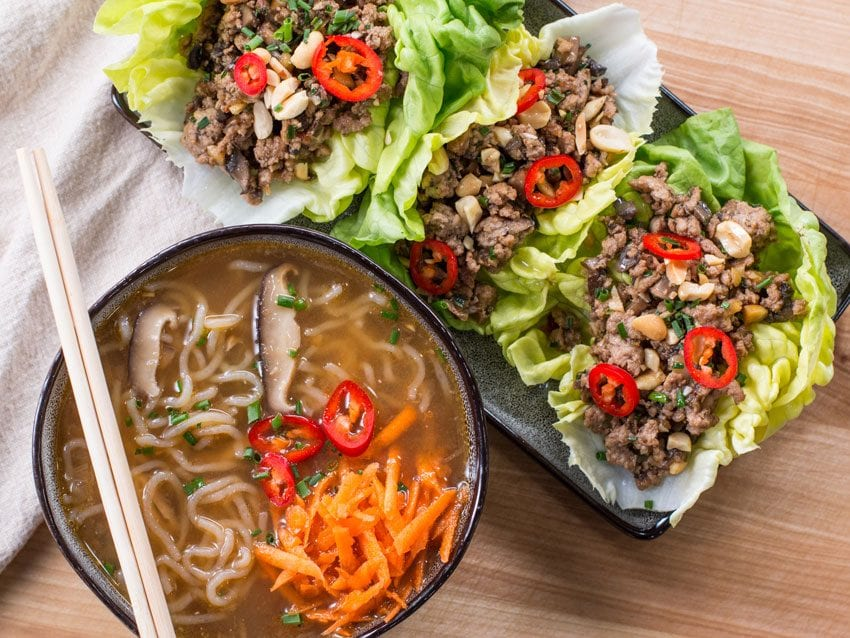lettuce wraps with low carb ramen