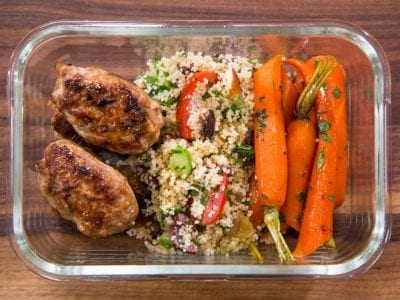 healthy meal prep recipes: glazed carrots with couscous salad and ground turkey
