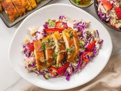 keto chicken thighs & coleslaw