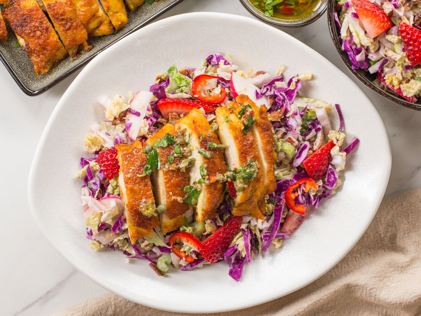 Keto Chicken Thighs With Crunchy Coleslaw Recipe Flavcity With Bobby Parrish