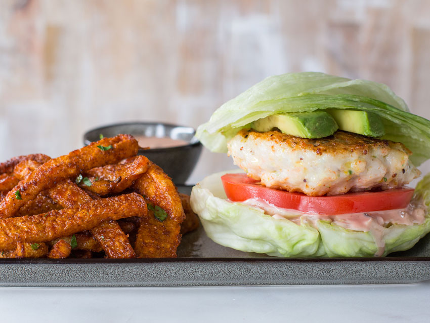 low carb shrimp burger add keto jicama fries