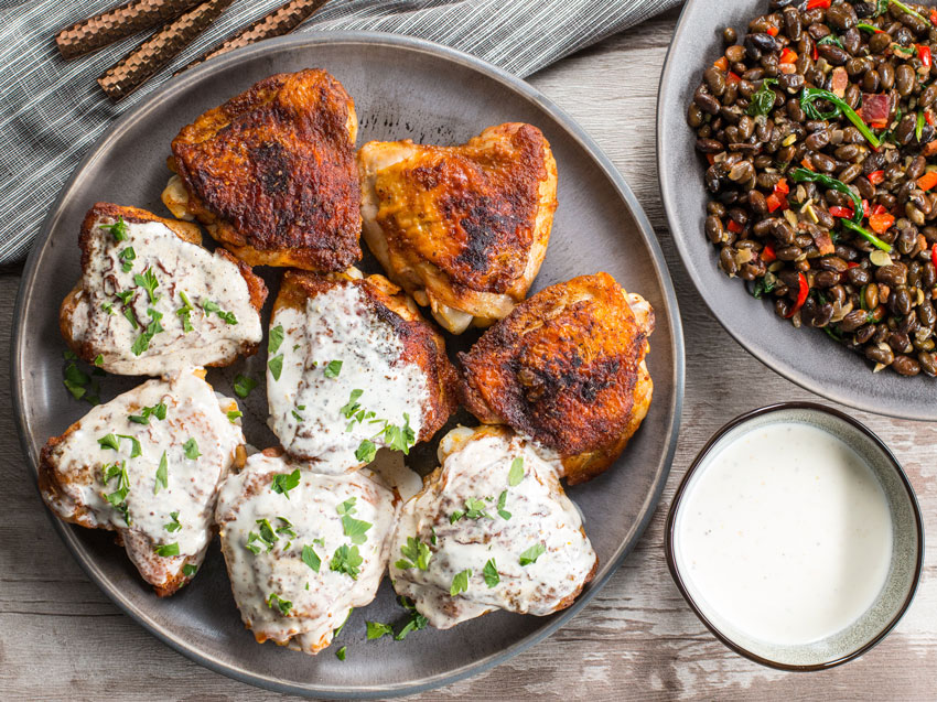 Keto Chicken Thighs With White Bbq Sauce Low Carb Meal Prep