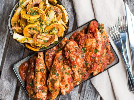 Chicken with tomato sauce and delicata squash and parsnips